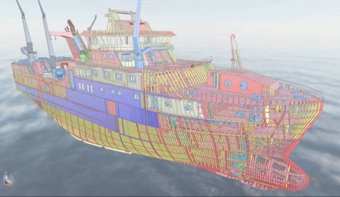 3D model of fishing stern trawler designed by GONDAN.