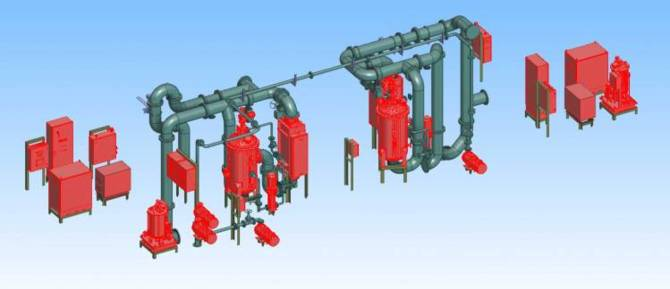 3D arrangement of piping and equipment in bulk carrier design.
