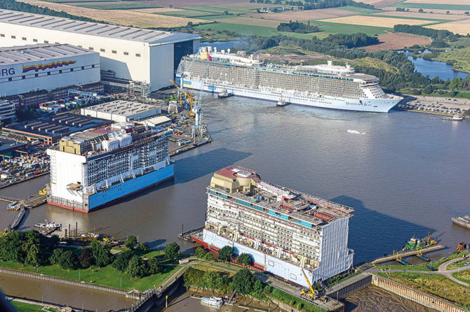 Cruise ship assembly at Meyer Werft in Papenburg, Germany.