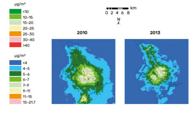 Picture 1. Annual average SO₂ concentration in the port of Antwerp in 2000, 2004, 2010 and 2013. The level of SO₂ concentration in the port and city declined so dramatically that the map colour key had to be changed from 2010 onwards (on the right) to allow for SO₂ levels below 10 μg/m3. In order to allow a meaningful comparison, the 2010 and 2013 maps from the Flemish Environment Company were redrawn (right) according to the 2000 and 2004 map key for this publication.