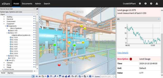 eShare - linking 3D model with online data from sensors for asset management.