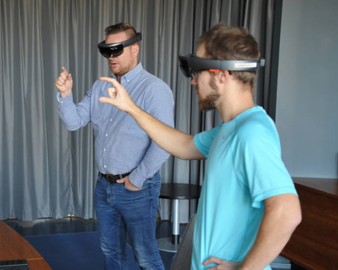 Ville Lehtinen, developer of the HoloLens application with Vesa-Matti Vaara, Senior Sales Manager.
